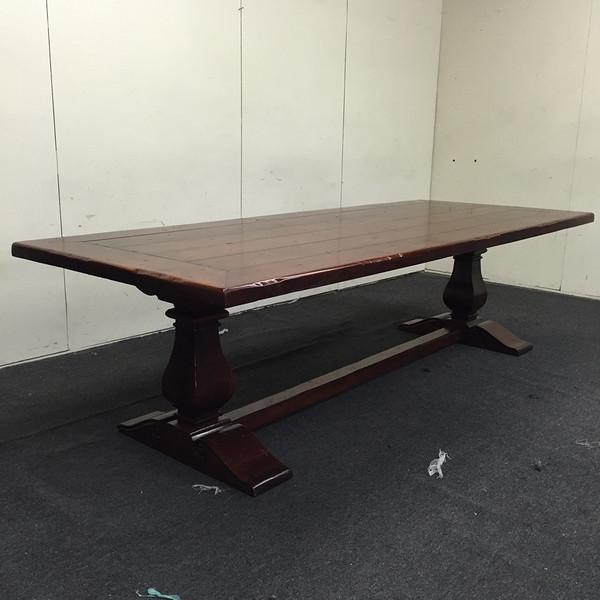 Image of Traditional Dark Wood Trestle Dining Table