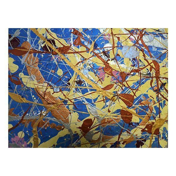 Vintage Pollock-Inspired Abstract Painting - Image 2 of 4