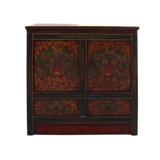 Distressed Rustic Chinese Tibetan Dragons Side Table Cabinet