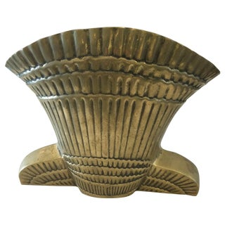 Large Fluted Brass Planter