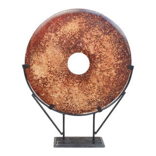 Large Chinese Stone Bi Disc On Stand