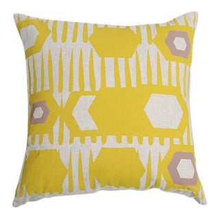Erin Flett Bold Graphic Linen Pillow in Goldenrod
