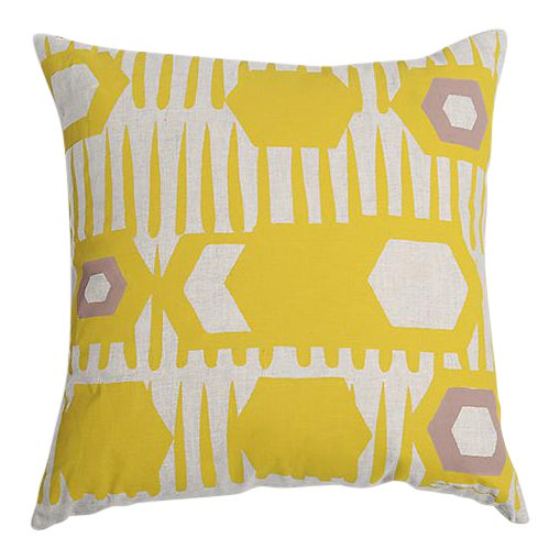 Erin Flett Bold Graphic Linen Pillow in Goldenrod - Image 1 of 3