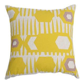 Erin Flett Bold Graphic Linen Pillow in Goldenrod
