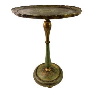 Antique Florentine Green & Gold Pedestal Side Table