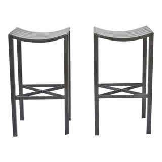 A Pair Forged Iron Parsons Barstools by Charleston Forge -
