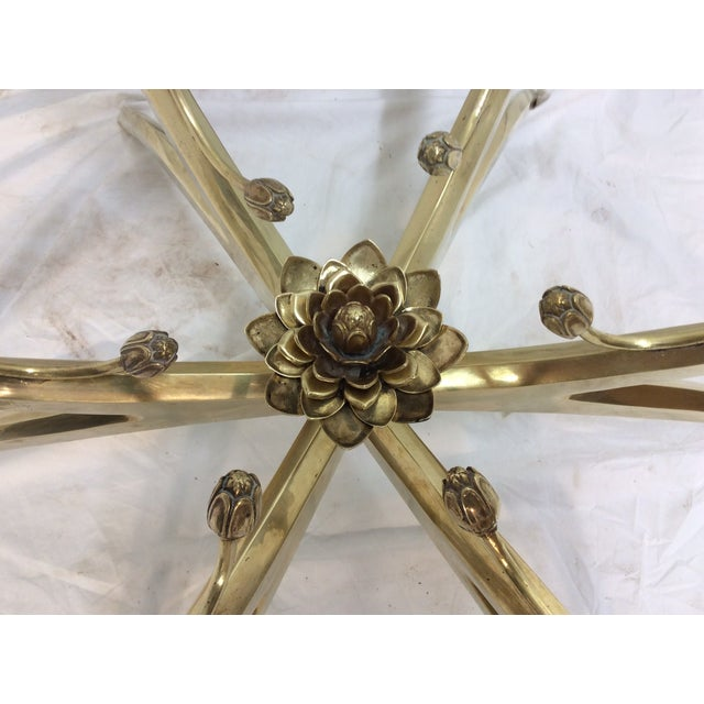 Midcentury Brass Spider Leg Lotus Coffee Table - Image 5 of 7