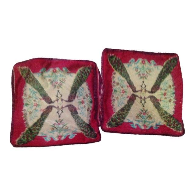 Antique Silk Velvet Persian Peacock Pillows - Pair - Image 1 of 11