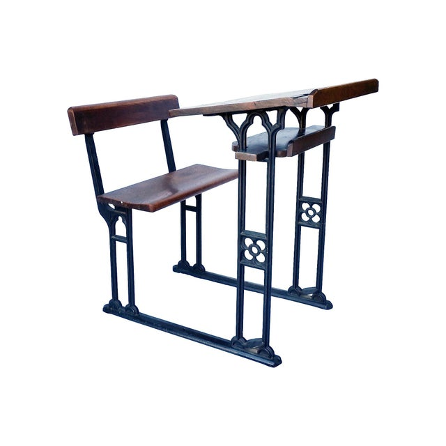Industrial British Antique Oak & Iron Desk - Image 1 of 6