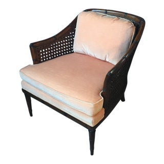 Pink Velvet Cane Bergere Chair