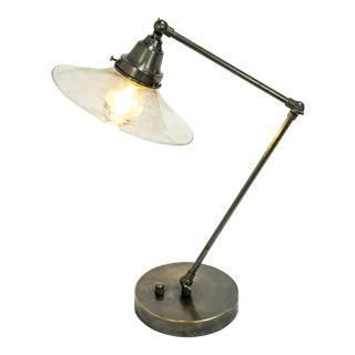 Gunmetal and Smoked Glass Desk Lamp