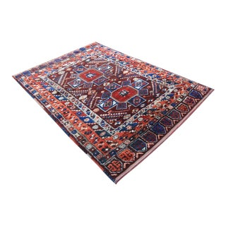 19th Century Konya Holbein Rugs Tribal Hand Knotted Turkish Rug - 4'7 X 6'7