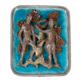 Figurative Ceramic Plaque Depicting Adam, Eve and the Serpent, German 1930s