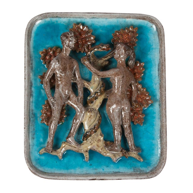 Image of Figurative Ceramic Plaque Depicting Adam, Eve and the Serpent, German 1930s