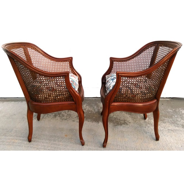 Image of Vintage French Cane Barrel Chairs - Set of 4
