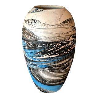 Vintage Nemadji Style Blue White & Black Vase