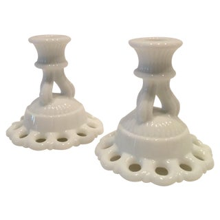 Westmoreland Doric Candlestick Holders - Pair
