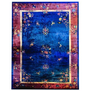 Palatial Size Chinese Art Deco Royal Blue and Violet Rug - 12′ × 18′