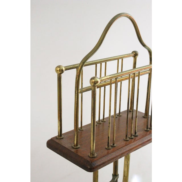 Image of Mid-Century Brass & Oak Magazine Rack