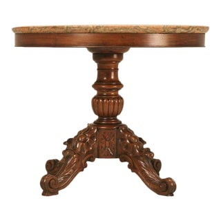 Heavily Carved Antique French Mahogany Restauration Period Table