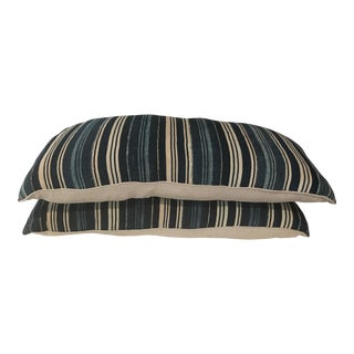Indigo Cloth Blue Striped Pillows - A Pair