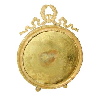 French 19th Century Round Brass Picture Frame