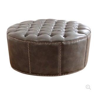 Abbyson Living Naples Nailhead Leather Round Ottoman in Gray