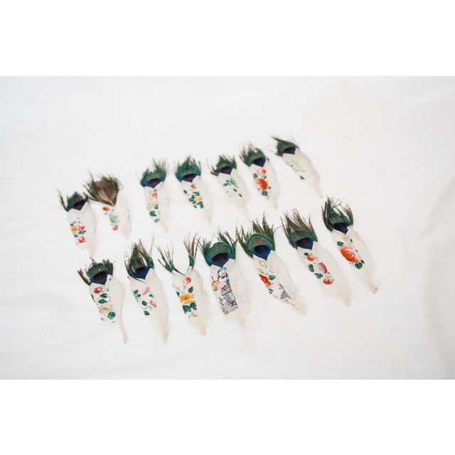 Painted Peacock Feathers - Set of 14 - Image 2 of 8