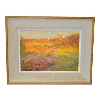 "Vintage ""Autumn Fields"" Abstract Oil Painting"