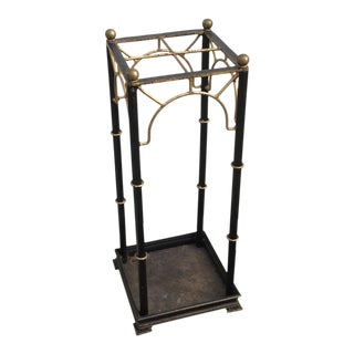 Regency Style Faux Bamboo Iron Umbrella Stand