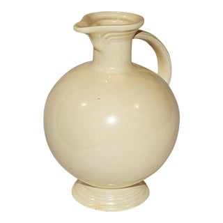Cream Pottery Footed Pitcher
