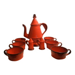 Mid-Century Metlox Poppytrail Red Rooster Teapot Set - S/9
