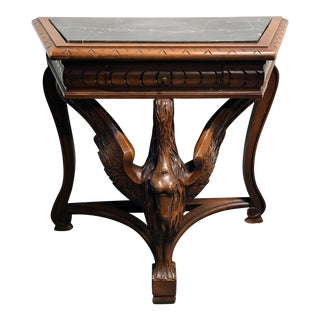 Carved Figural Goose Walnut Console Table