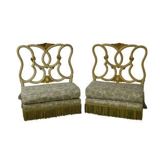 Antique Italian Painted & Upholstered Foyer Settees Benches - A Pair