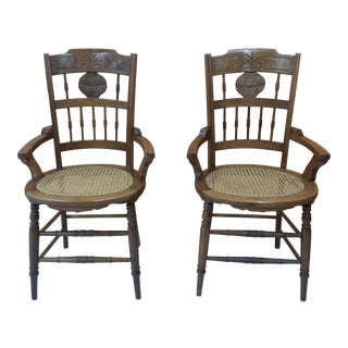 Walnut Chairs With Caned Seats - A Pair