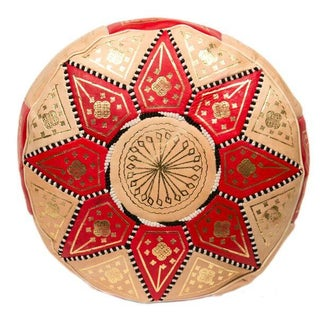 Marrakech Leather Pouf in Red (Stuffed)