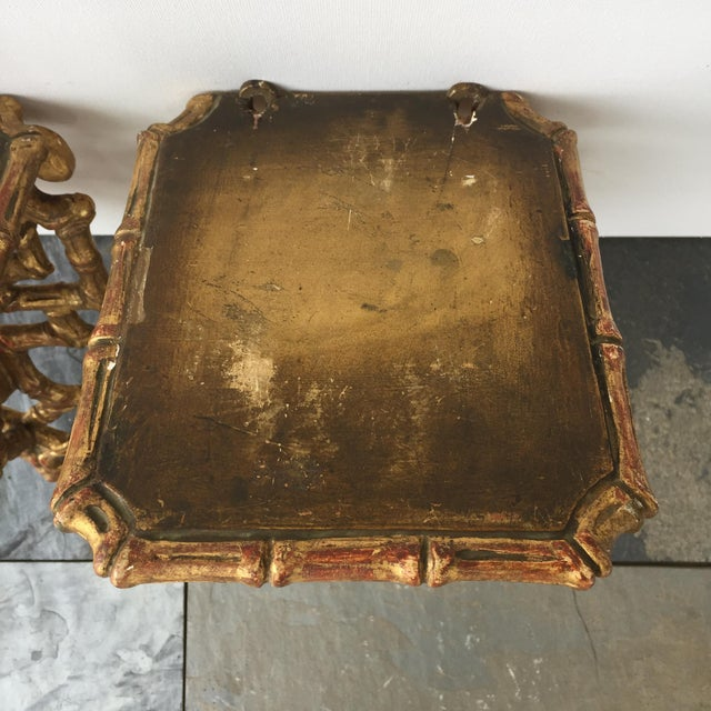 19th C. Giltwood Faux Bamboo Wall Brackets - A Pair - Image 4 of 6
