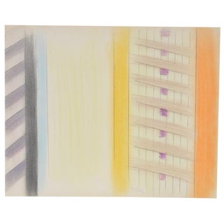 1980s Vintage Abstract Color Pencil and Graphite on Paper by John Charles Haley