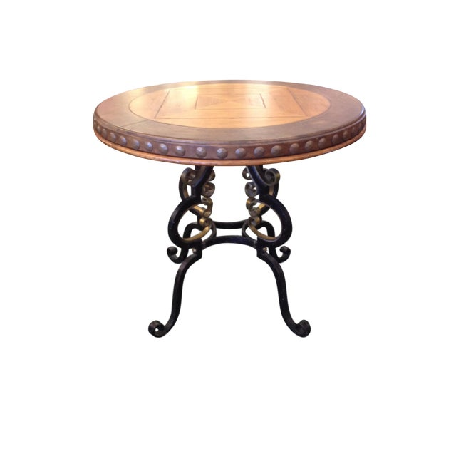 Henredon Highlands Leather Top Round End Table - Image 1 of 10