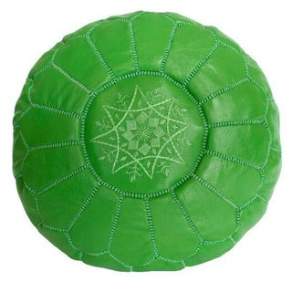 Embroidered Leather Pouf in Green (Stuffed)