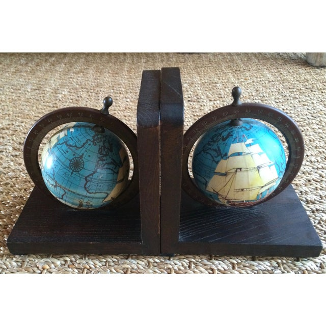 Nautical Spinning Globe Ships Bookends - Pair - Image 2 of 6