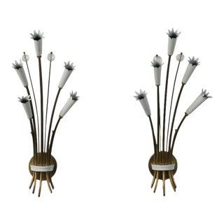 Pair Italian Stilnovo Style Brass and Enamel Sconces