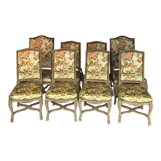 Auffray & Co. French Louis XV Walnut Dining Chairs - Set of 8