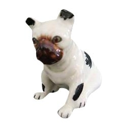 Vintage Black and White Bulldog Dog Ceramic Figurine