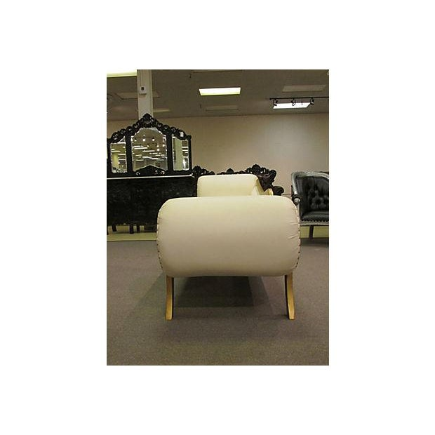 Gold Gilt Leather Chase Lounge Chair - Image 5 of 7