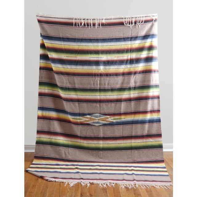 Vintage Mexican Saltillo Blanket - Image 3 of 6