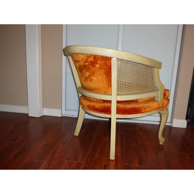 Vintage Cane & Orange Velvet Club Chair - Image 5 of 8