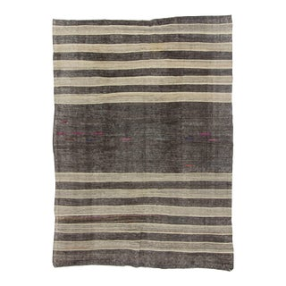 Vintage Turkish Kilim Black & Silver Gray Striped Handwoven Rug - 6′1″ × 8′6″