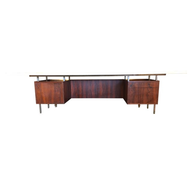 Mid-Century Executive Desk, Marble Top - Image 1 of 11