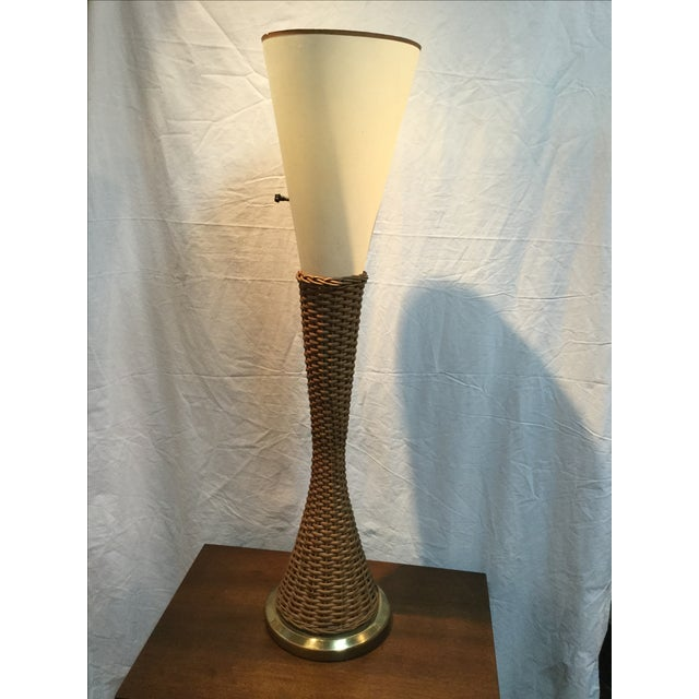 Image of Modeline Brass and Rattan Modern Table Lamp